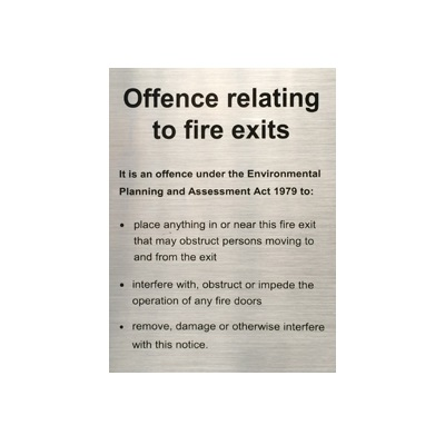 NSW Sign - Offences Relating to Fire Stairs